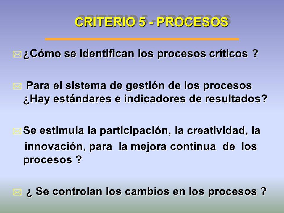 CRITERIO 5 - PROCESOS ¿Cómo se identifican los procesos críticos