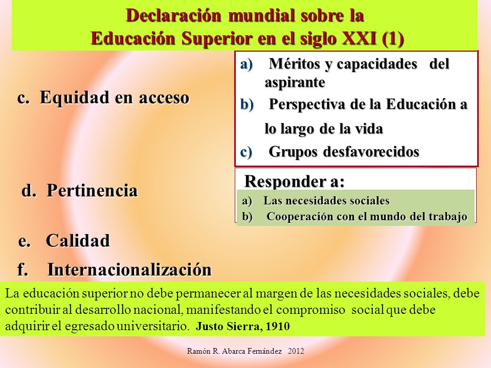 Declaración mundial sobre la Educación Superior en el siglo XXI (1)