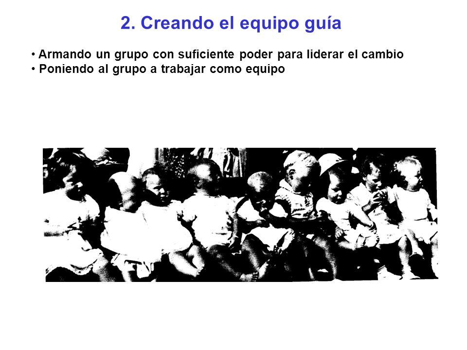 2. Creando el equipo guía Armando un grupo con suficiente poder para liderar el cambio.