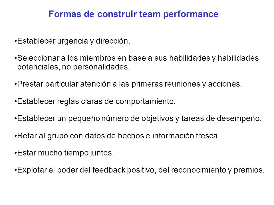 Formas de construir team performance