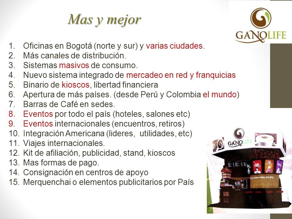 Mas y mejor Oficinas en Bogotá (norte y sur) y varias ciudades.