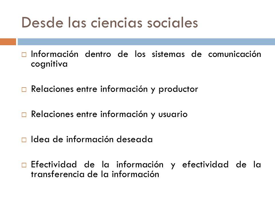 Desde las ciencias sociales