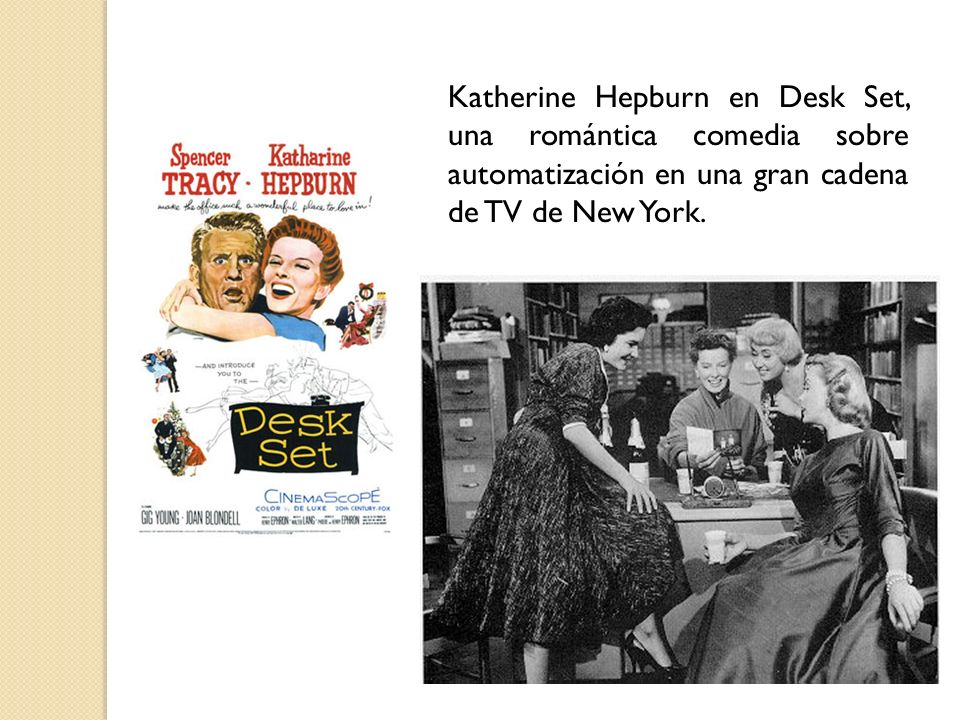 Katherine Hepburn en Desk Set, una romántica comedia sobre automatización en una gran cadena de TV de New York.