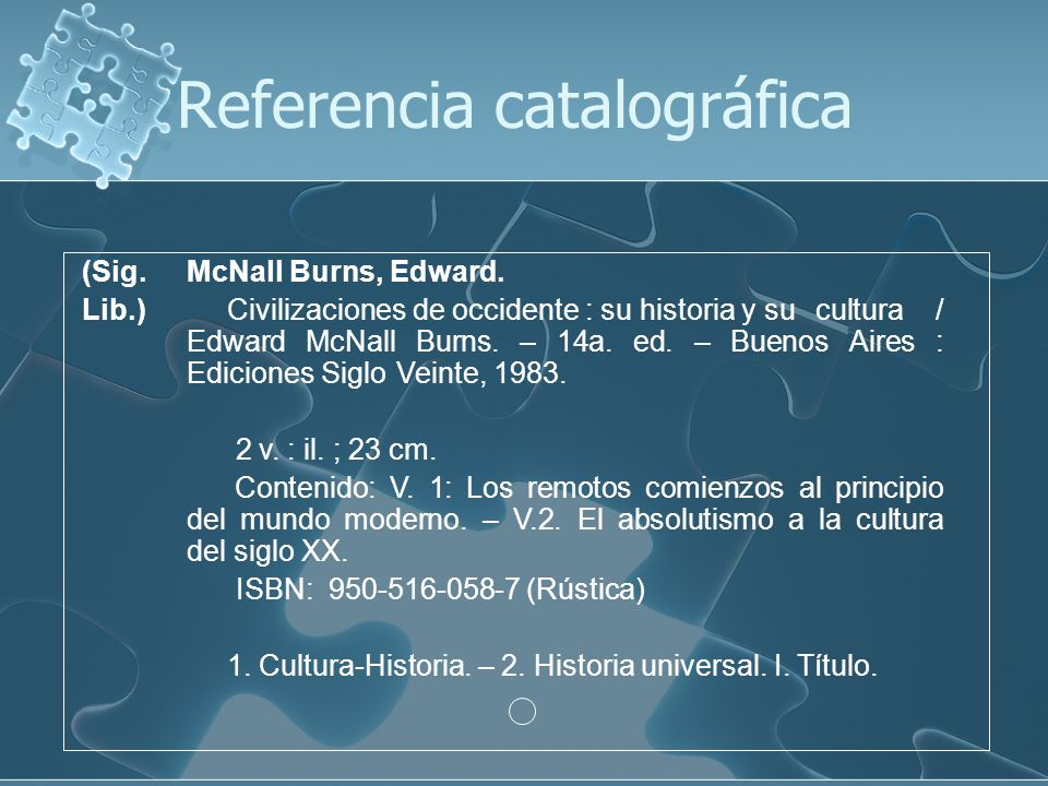 Referencia catalográfica