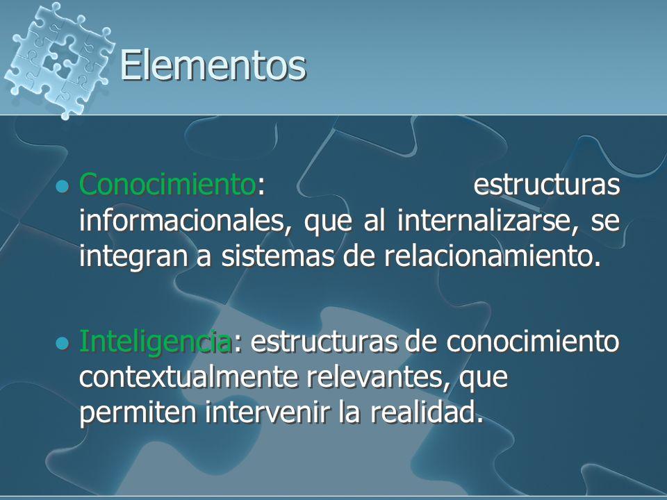 ElementosConocimiento: estructuras informacionales, que al internalizarse, se integran a sistemas de relacionamiento.