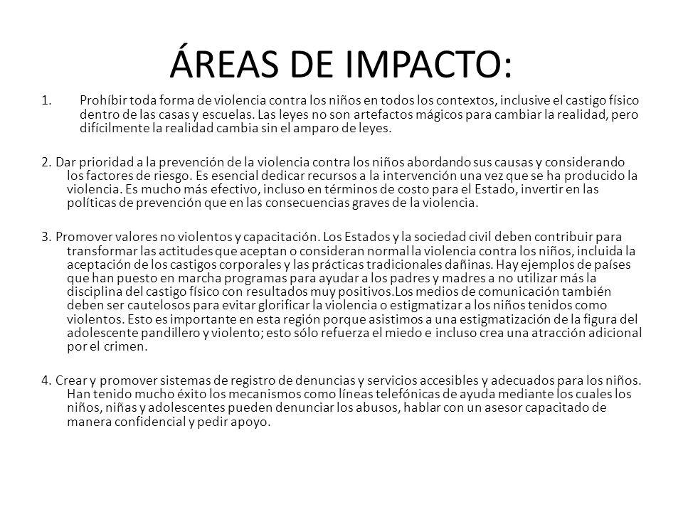 ÁREAS DE IMPACTO: