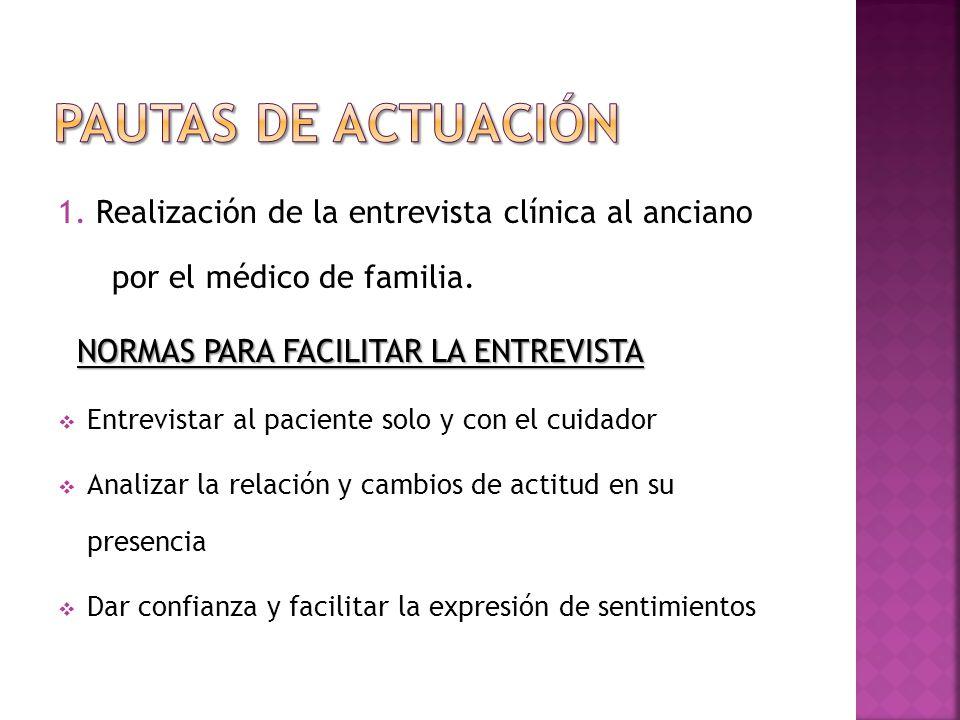 Pautas DE ACTUACIÓN 1. Realización de la entrevista clínica al anciano por el médico de familia. NORMAS PARA FACILITAR LA ENTREVISTA.