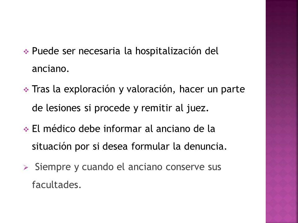 Puede ser necesaria la hospitalización del anciano.