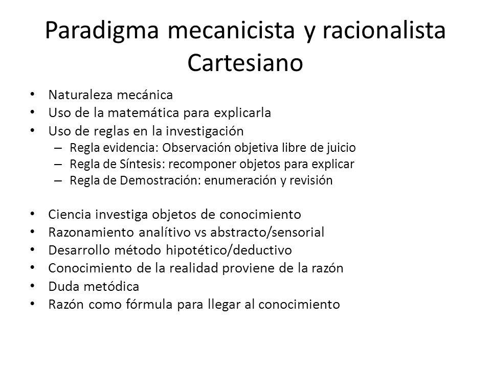 Paradigma mecanicista y racionalista Cartesiano