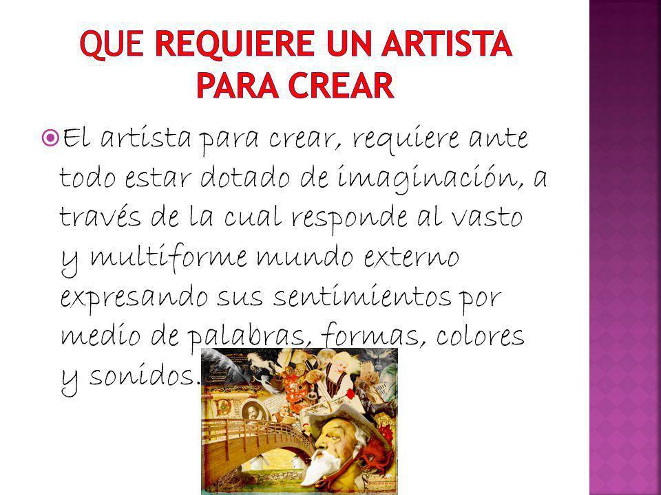 QUE REQUIERE UN ARTISTA PARA CREAR