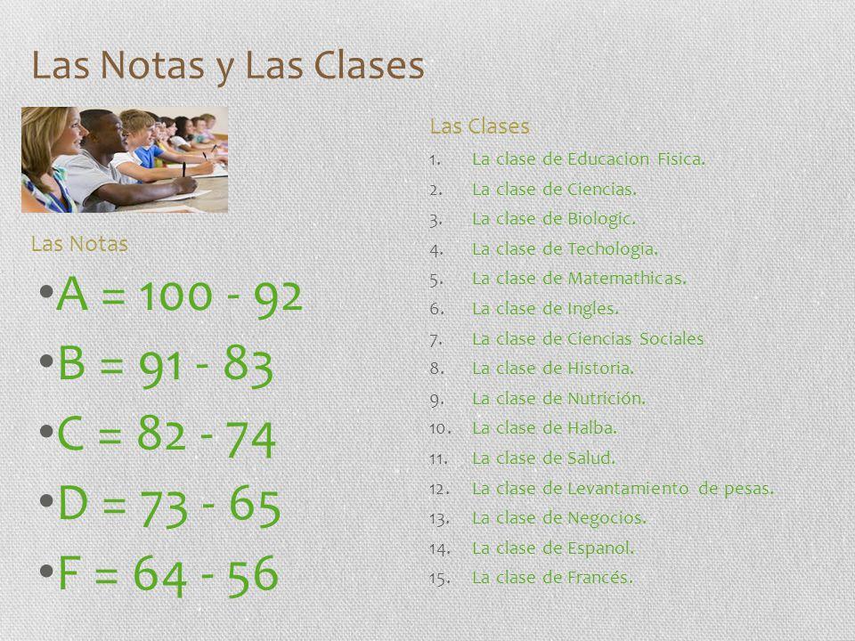 Las Notas y Las Clases Las Clases. La clase de Educacion Fisica. La clase de Ciencias. La clase de Biologic.