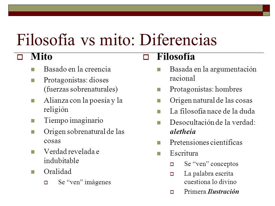 Filosofía vs mito: Diferencias