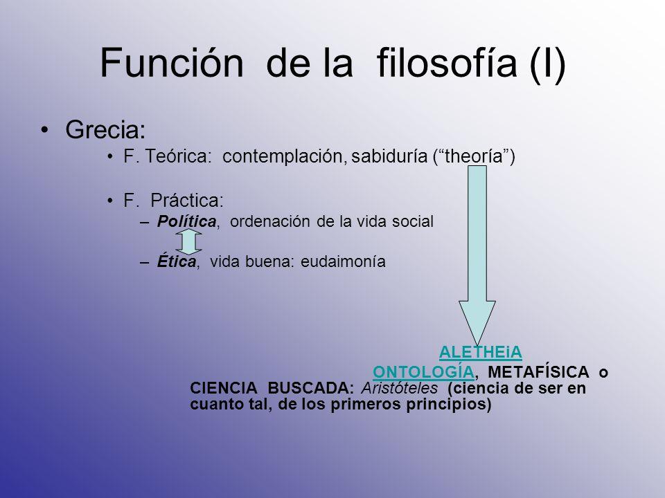 Función de la filosofía (I)