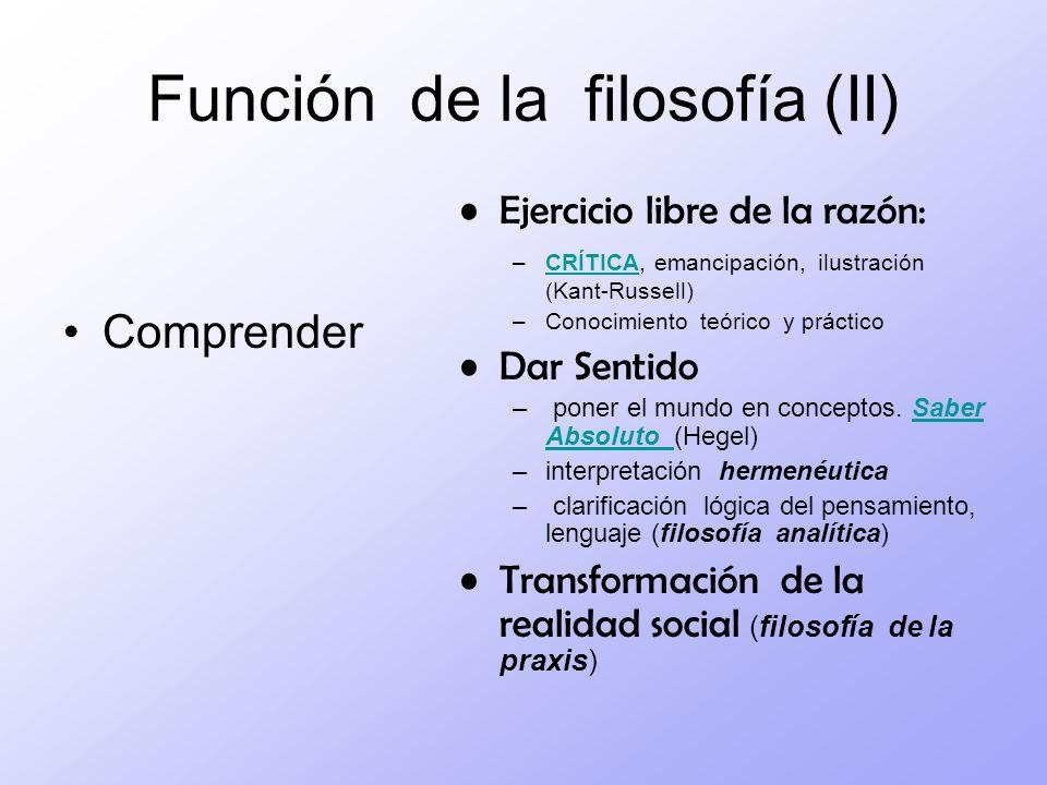 Función de la filosofía (II)