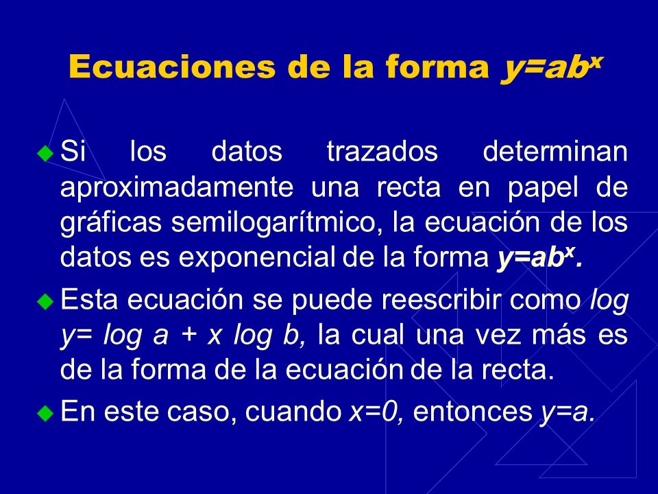 Ecuaciones de la forma y=abx