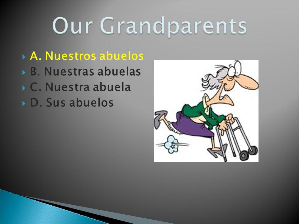 Our Grandparents A. Nuestros abuelos B. Nuestras abuelas
