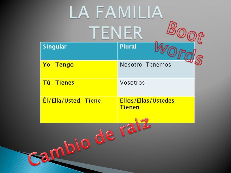LA FAMILIA TENER Boot words Cambio de raiz