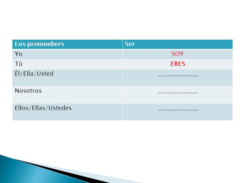 Los pronombres Ser Yo SOY Tú ERES Él/Ella/Usted _____________ Nosotros Ellos/Ellas/Ustedes