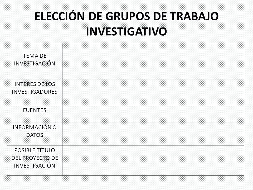 ELECCIÓN DE GRUPOS DE TRABAJO INVESTIGATIVO