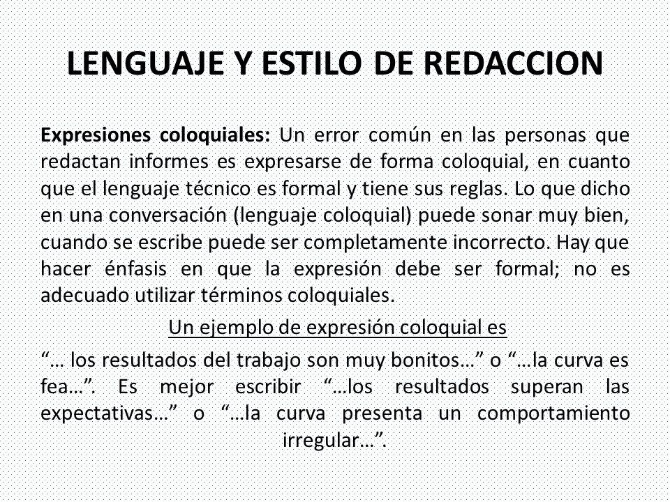 LENGUAJE Y ESTILO DE REDACCION
