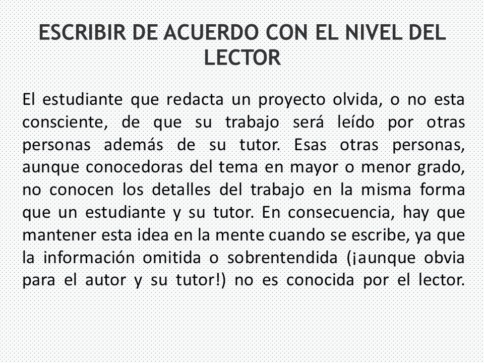 ESCRIBIR DE ACUERDO CON EL NIVEL DEL LECTOR