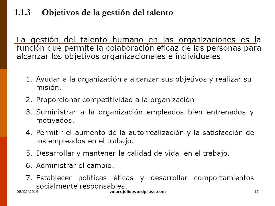 1.1.3 Objetivos de la gestión del talento
