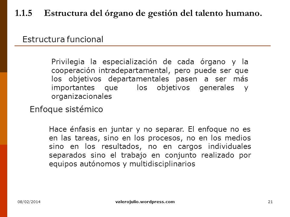 1.1.5 Estructura del órgano de gestión del talento humano.