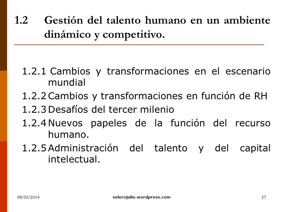 1.2 Gestión del talento humano en un ambiente dinámico y competitivo.