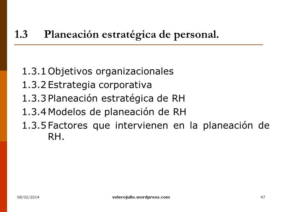 1.3 Planeación estratégica de personal.