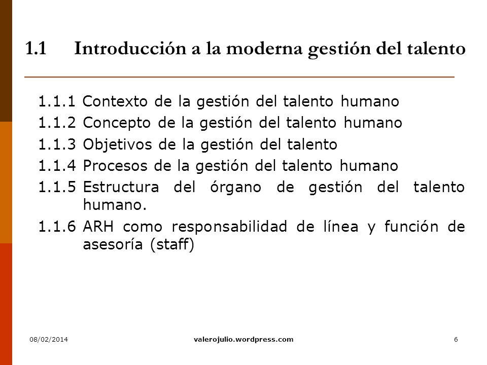 1.1 Introducción a la moderna gestión del talento