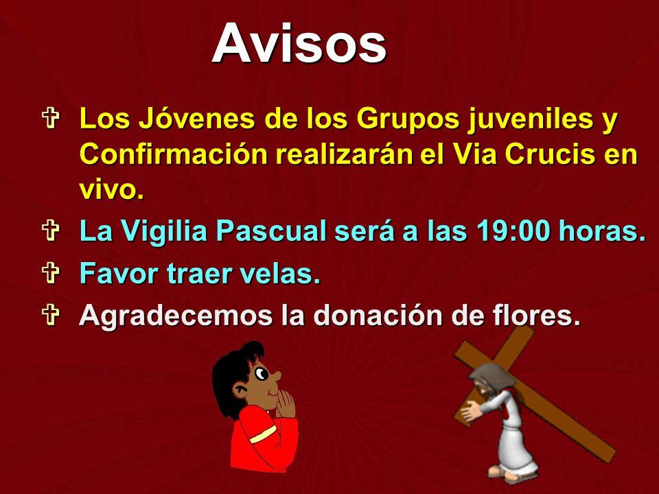 Avisos Los Jóvenes de los Grupos juveniles y Confirmación realizarán el Via Crucis en vivo. La Vigilia Pascual será a las 19:00 horas.