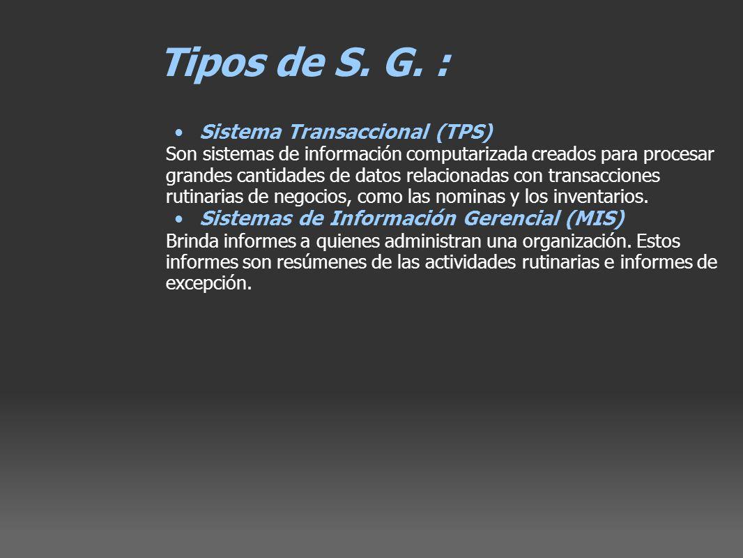 Tipos de S. G. : Sistema Transaccional (TPS)