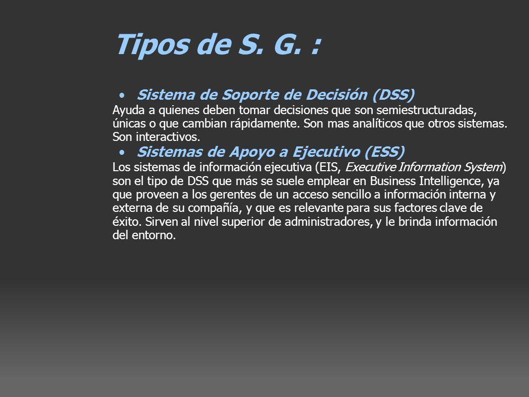 Tipos de S. G. : Sistema de Soporte de Decisión (DSS)