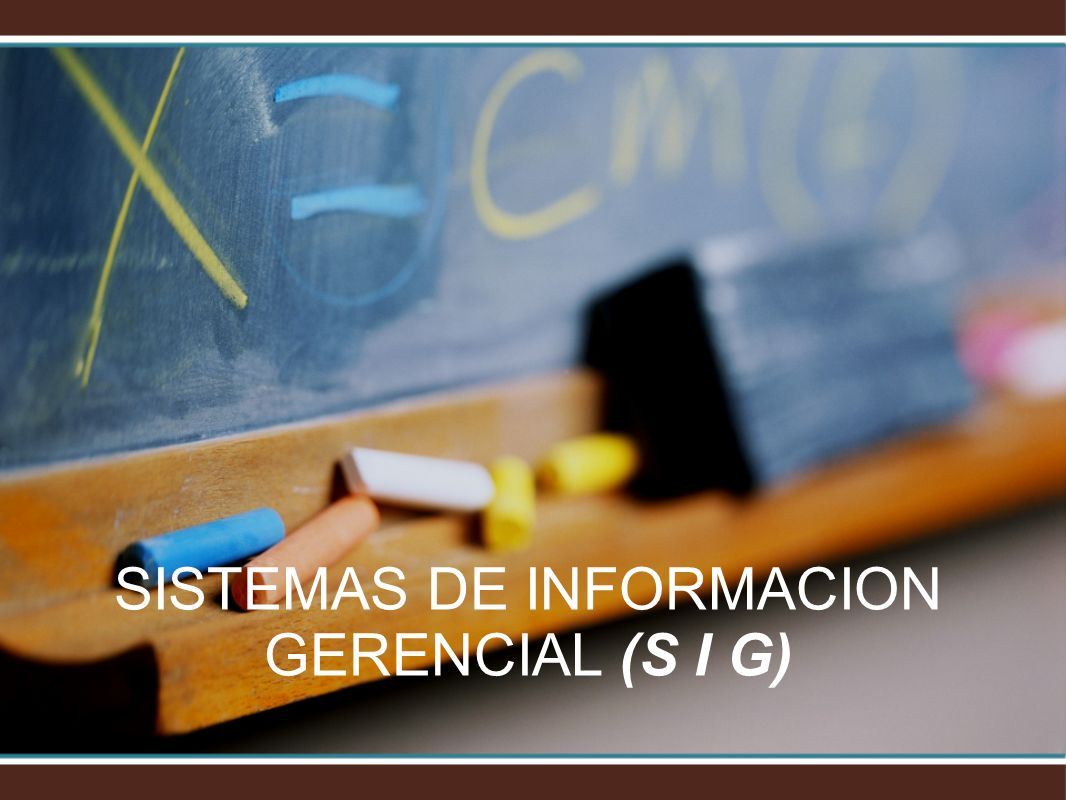 SISTEMAS DE INFORMACION GERENCIAL (S I G)