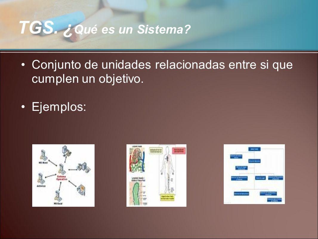 TGS. ¿Qué es un Sistema. Conjunto de unidades relacionadas entre si que cumplen un objetivo.