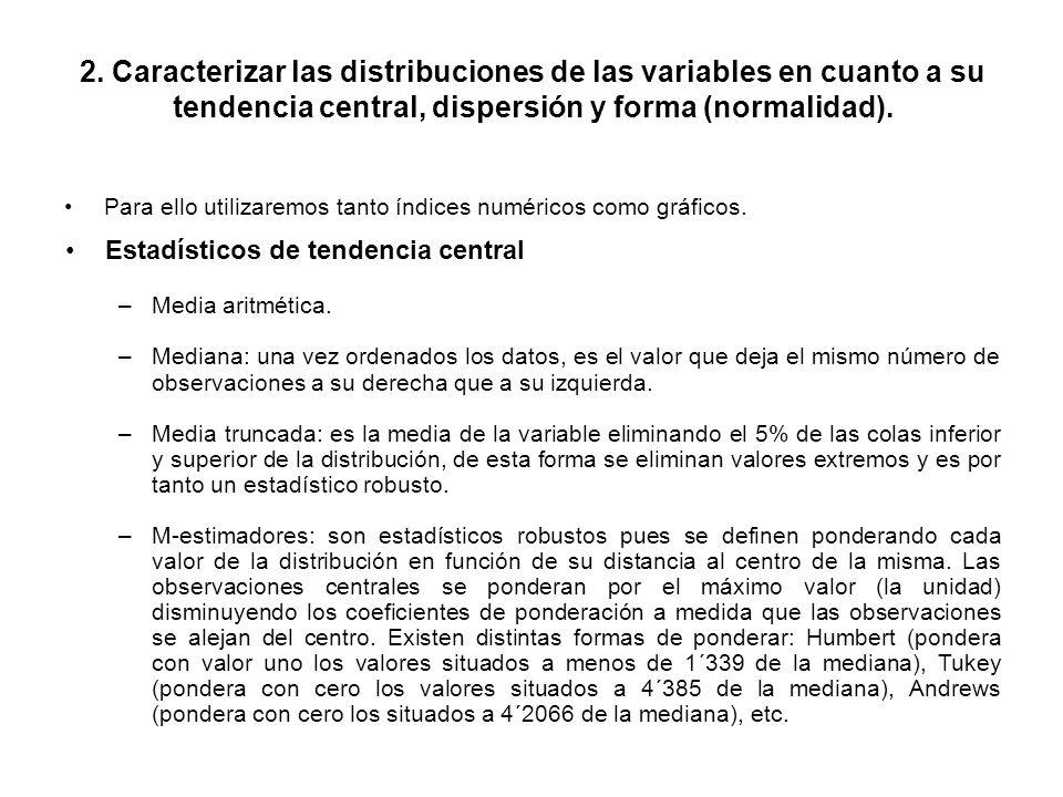 2. Caracterizar las distribuciones de las variables en cuanto a su tendencia central, dispersión y forma (normalidad).