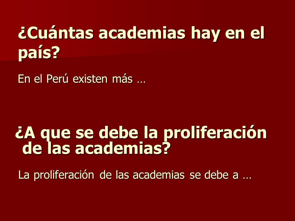 ¿Cuántas academias hay en el país En el Perú existen más …