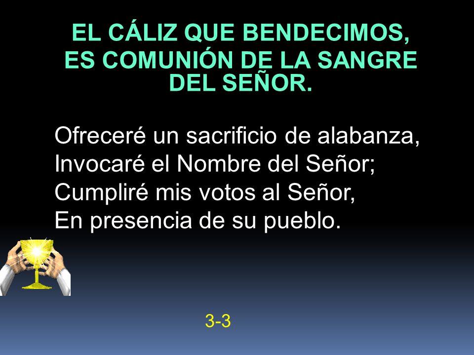 EL CÁLIZ QUE BENDECIMOS, ES COMUNIÓN DE LA SANGRE DEL SEÑOR.