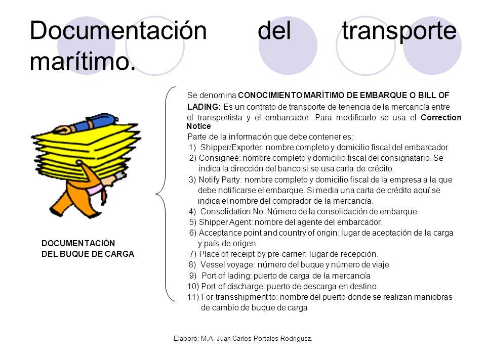 Documentación del transporte marítimo.