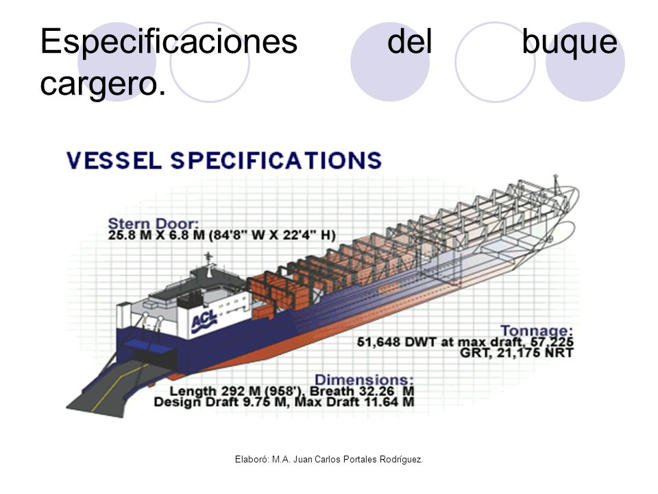Especificaciones del buque cargero.