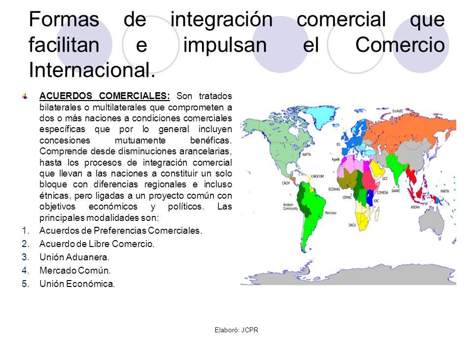 Formas de integración comercial que facilitan e impulsan el Comercio Internacional.
