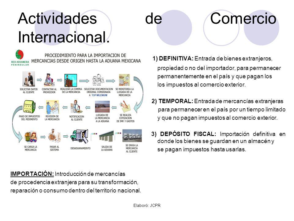 Actividades de Comercio Internacional.