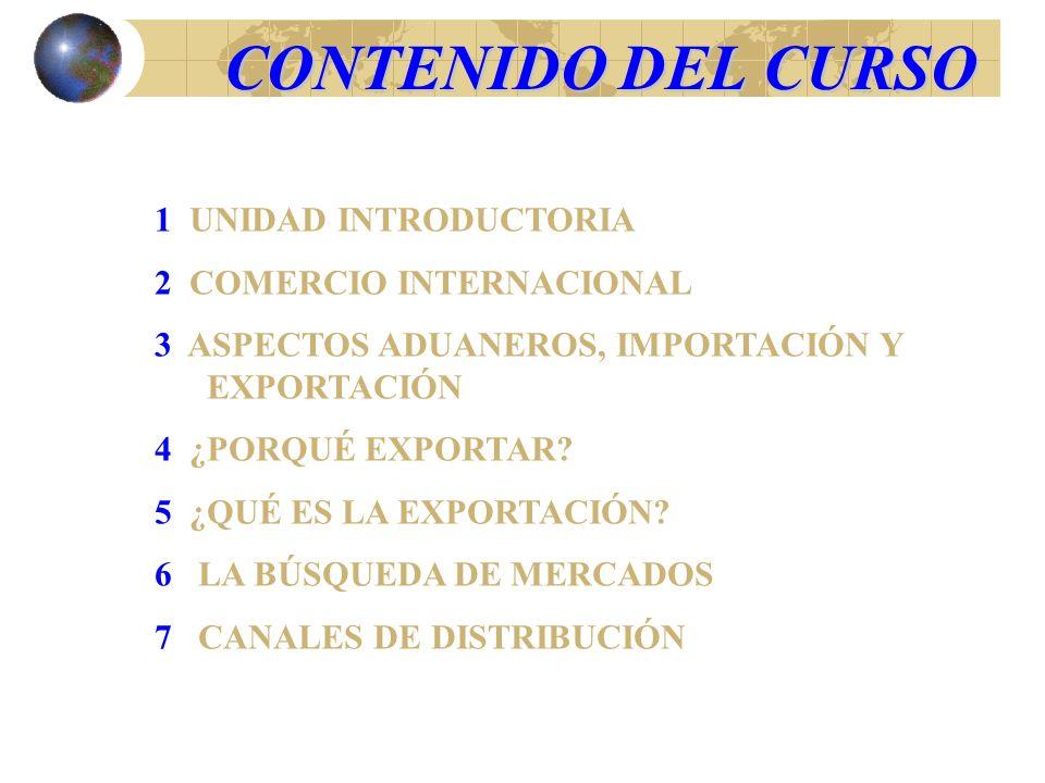 CONTENIDO DEL CURSO 1 UNIDAD INTRODUCTORIA 2 COMERCIO INTERNACIONAL