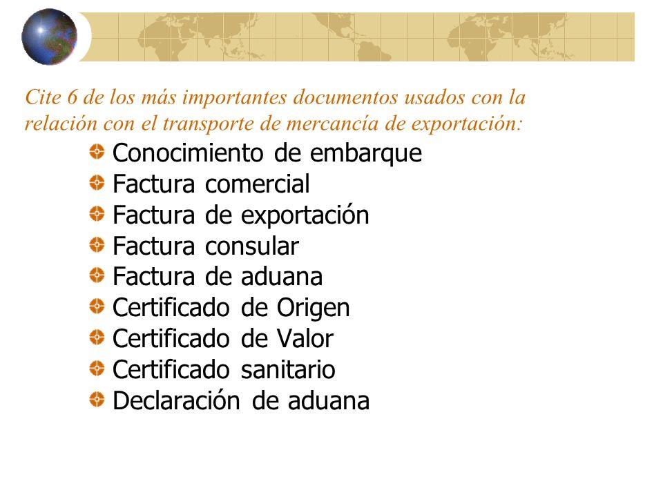 Conocimiento de embarque Factura comercial Factura de exportación