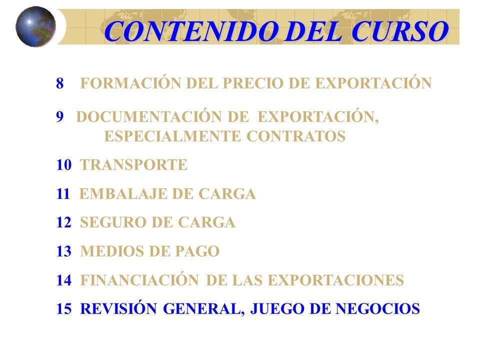 CONTENIDO DEL CURSO 8 FORMACIÓN DEL PRECIO DE EXPORTACIÓN