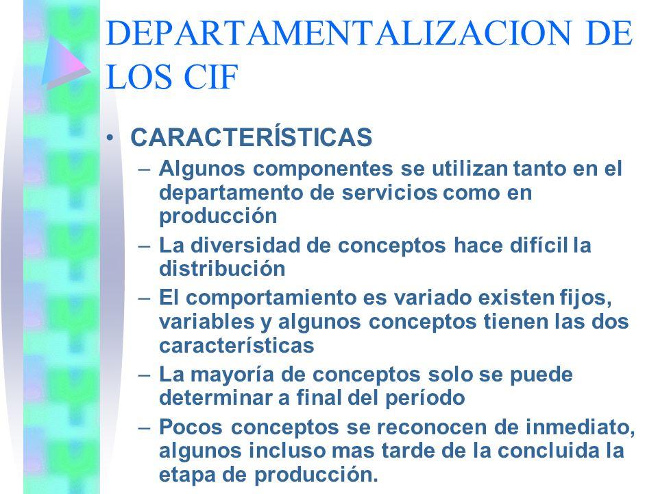 DEPARTAMENTALIZACION DE LOS CIF