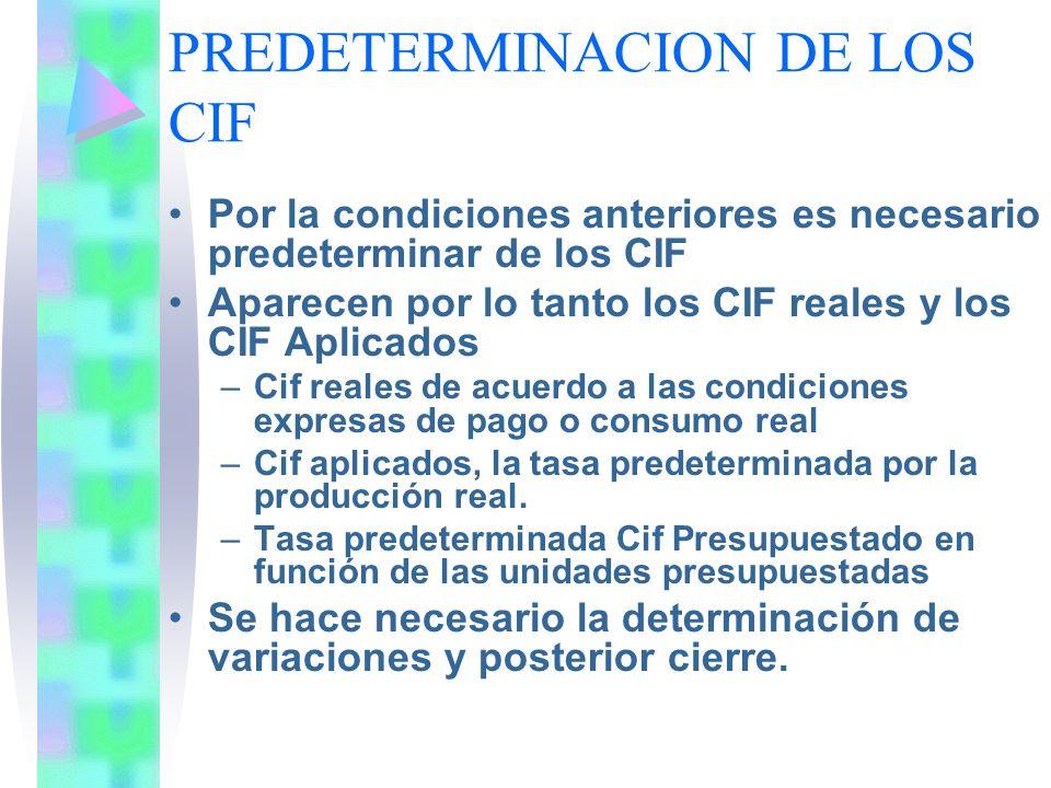 PREDETERMINACION DE LOS CIF
