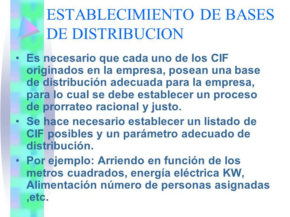 ESTABLECIMIENTO DE BASES DE DISTRIBUCION