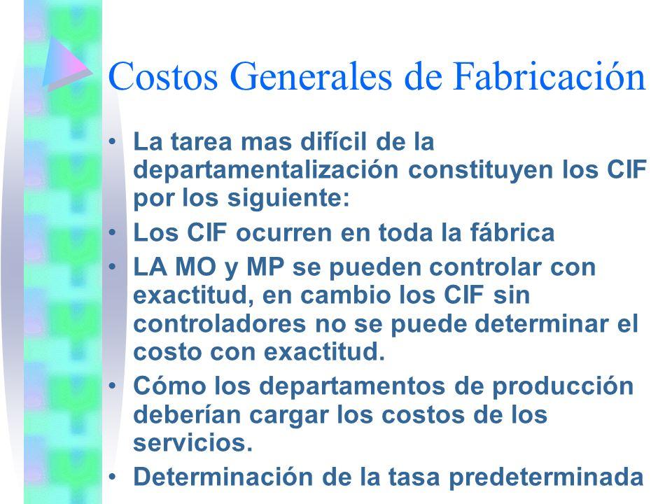 Costos Generales de Fabricación