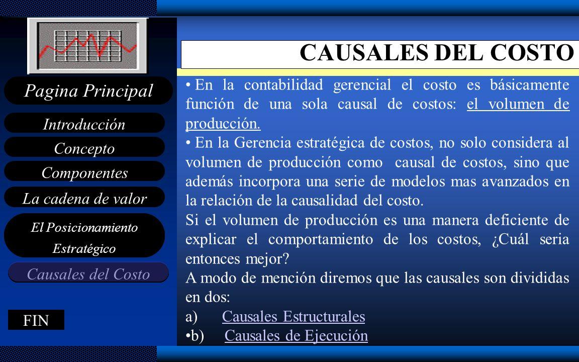 CAUSALES DEL COSTO En la contabilidad gerencial el costo es básicamente función de una sola causal de costos: el volumen de producción.